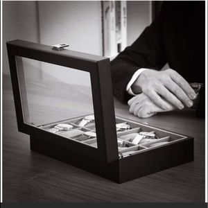 Other - Men's black leather watch display case